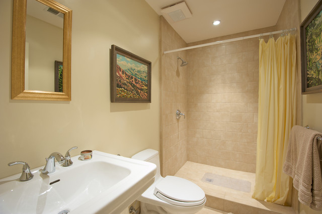 example of a trendy bathroom design in san francisco with a pedestal sink - Simple Bathrooms With Shower