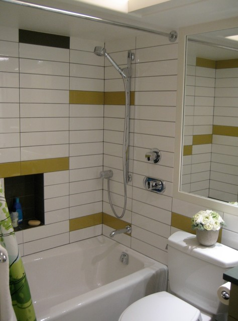 Example of a small trendy kids' white tile and subway tile bathroom design in San Francisco with a one-piece toilet