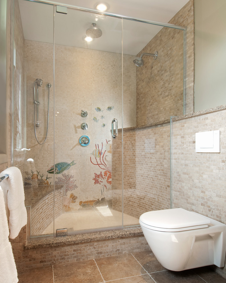 Bathroom - mid-sized coastal 3/4 beige tile and stone tile ceramic tile and brown floor bathroom idea in Ottawa with a wall-mount toilet, beige walls and a hinged shower door