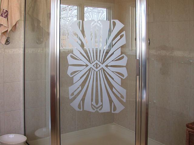 Art deco etching on bathroom shower door transitional bathroom art deco etching on bathroom shower door transitional bathroom planetlyrics Gallery