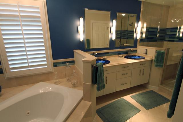 Artful Bath in Blue contemporary-bathroom