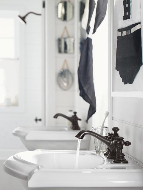 Artifacts Bathroom (Bell & Prong Design) midcentury-bathroom