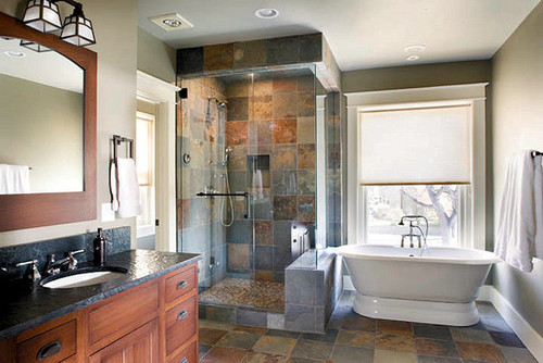 What is the size of the bulkhead and shower seat for Arts crafts bathroom design