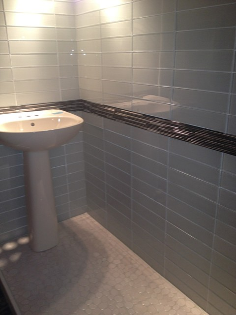 Arvex silkscreen glass tile with metal mosaic border and White border tiles bathrooms