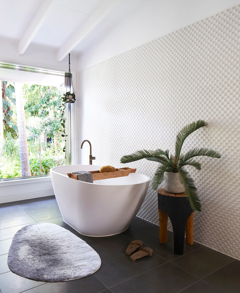 Inspiration for a contemporary white tile freestanding bathtub remodel in Brisbane