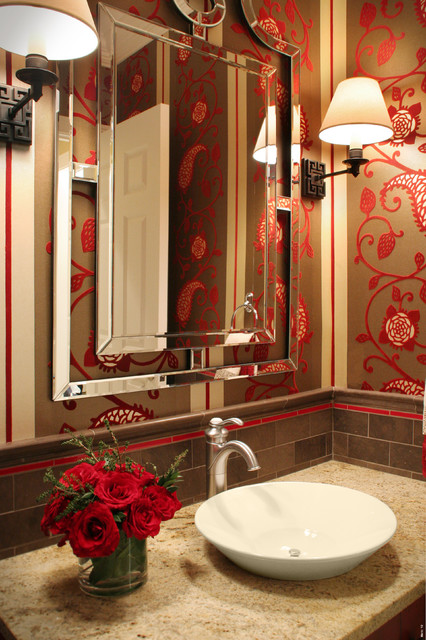 Asian-Inspired Powder Room traditional-bathroom