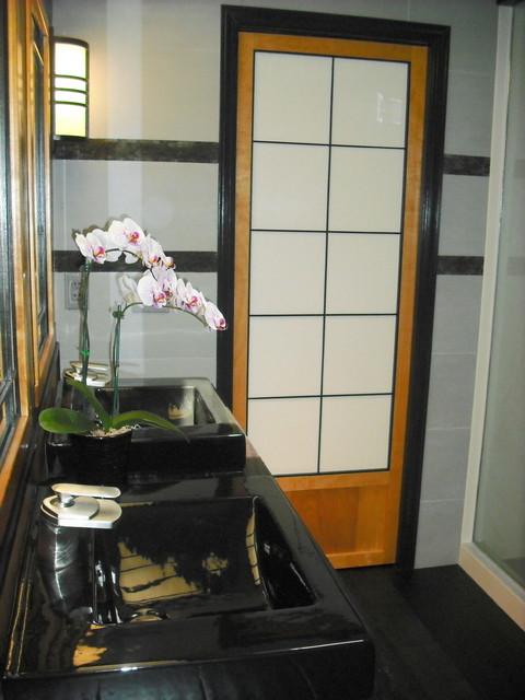 Asian Style Bathroom With Custom Made Shoji Pocket Door