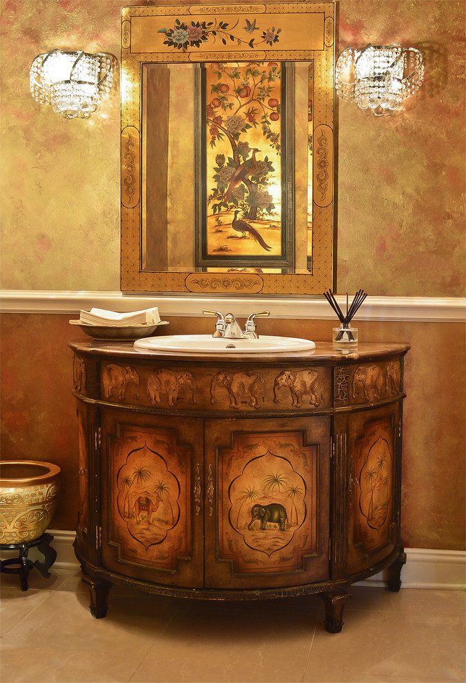 Bathroom - mid-sized asian master marble floor bathroom idea in Chicago with an integrated sink, furniture-like cabinets, wood countertops, beige walls and dark wood cabinets