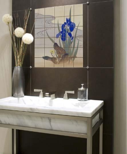 Asian Tile Mural in Bathroom asian-bathroom