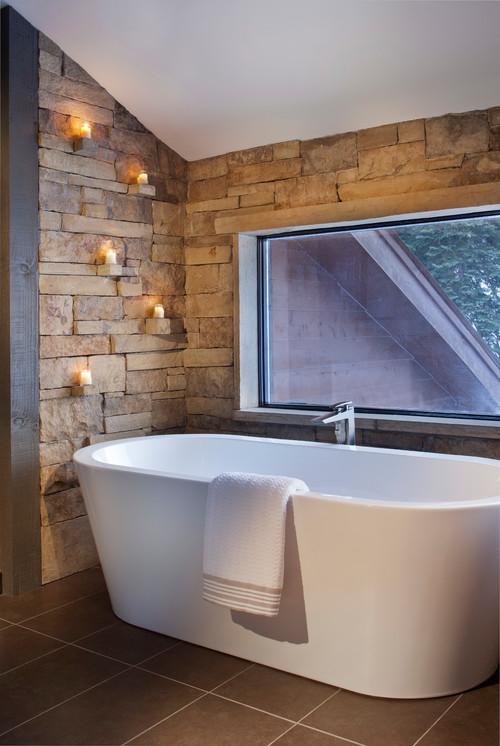 Rustic Bathroom by Crested Butte Interior Designers & Decorators kPd Studios | Kristine Pivarnik Design, LLC