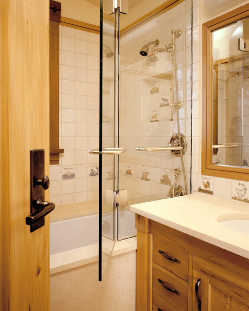 Aspen Rustic Mountain House Traditional Bathroom San Francisco By Staprans Design