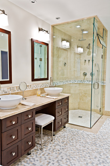 Bathroom - large contemporary master beige tile and porcelain tile mosaic tile floor bathroom idea in Bridgeport with a vessel sink, furniture-like cabinets, dark wood cabinets, marble countertops, a two-piece toilet and white walls