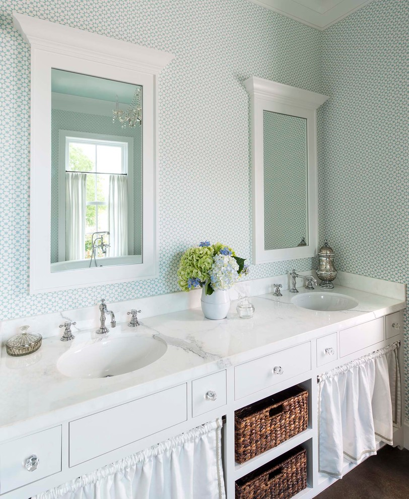 Cottage dark wood floor bathroom photo in Dallas with an undermount sink, flat-panel cabinets, white cabinets and blue walls