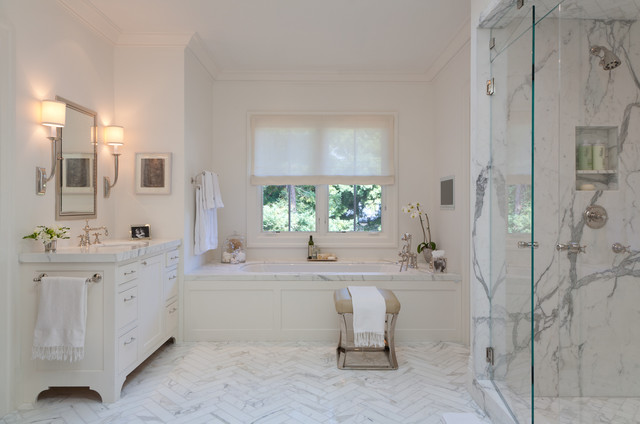 Example Of A Large Trendy White Tile And Marble Floor Alcove Shower Design In
