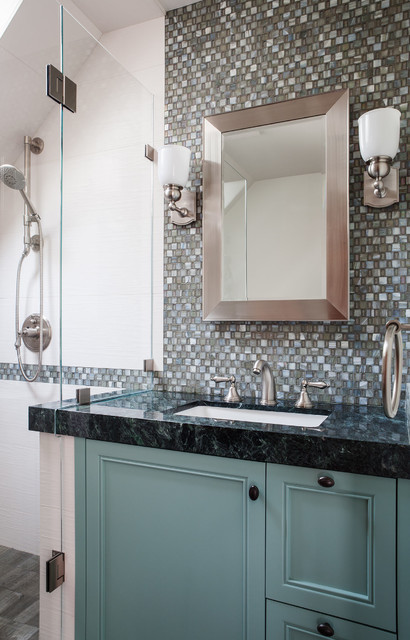 Example of a transitional gray tile and ceramic tile alcove shower design in San Francisco with granite countertops, an undermount sink and multicolored walls