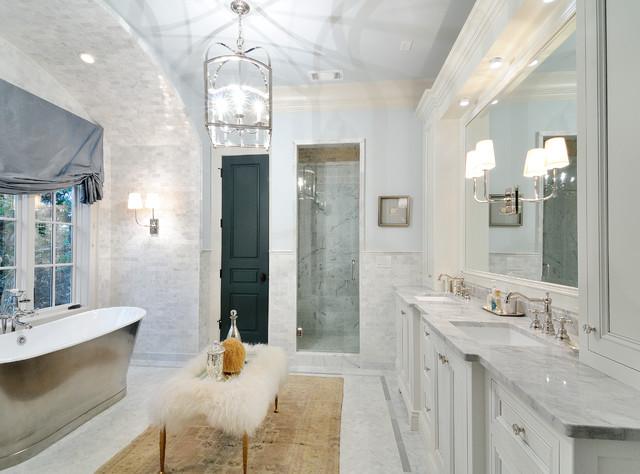 Exceptional Elegant Master Freestanding Bathtub Photo In Atlanta With White Cabinets