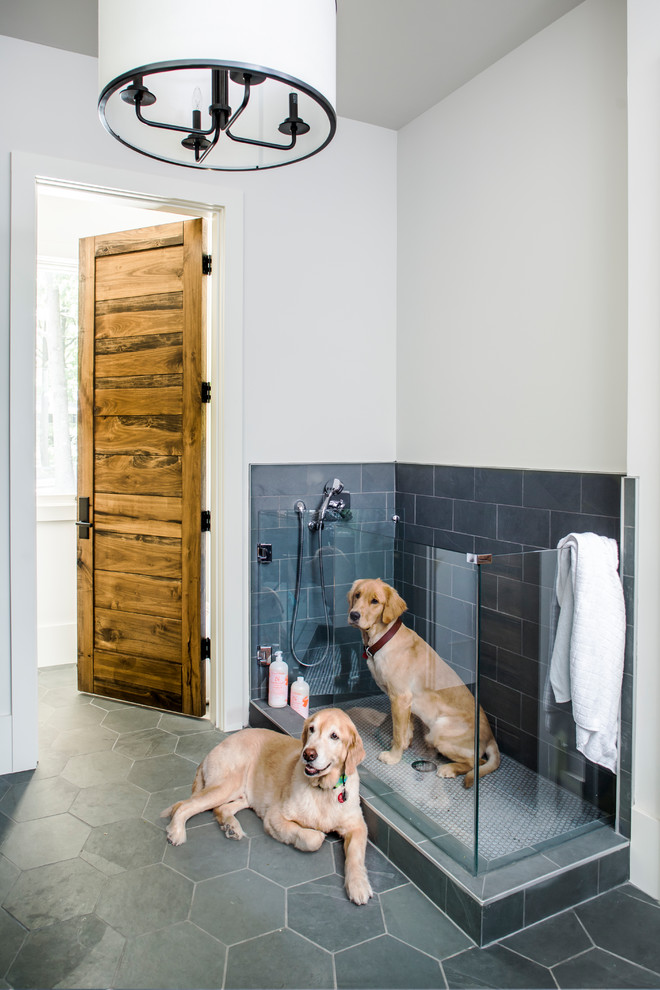 Inspiration for a farmhouse gray tile gray floor bathroom remodel in Atlanta with white walls