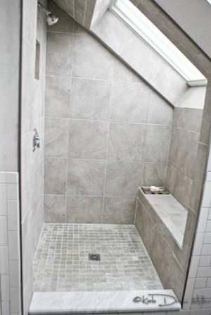 Attic bathroom new construction contemporary for Bathroom design under eaves