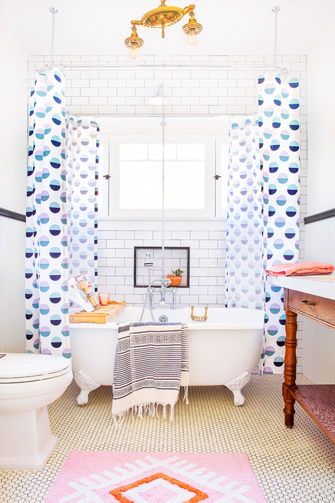 Example of a mid-sized arts and crafts kids' white tile and subway tile ceramic tile and white floor bathroom design in Los Angeles with furniture-like cabinets, dark wood cabinets, a two-piece toilet, white walls, an undermount sink, quartz countertops and white countertops
