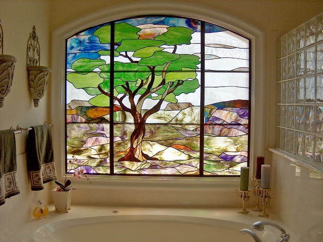 Quot Austin Oak Quot Bathroom Stained Glass Window Contemporary