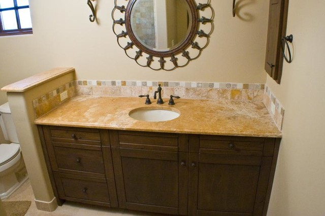 Authentic durango dorado vanity countertop and backsplash traditional bathroom other Granite backsplash for bathroom vanity