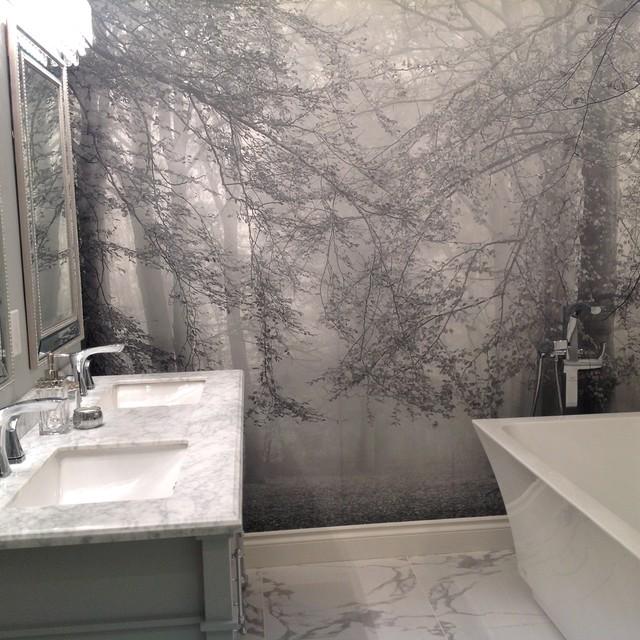 Forest Wallpaper Murals - Autumn is Here B&W nyklassisk-badrum