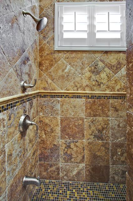 Autumn Leaves Travertine Tiles Traditional Bathroom