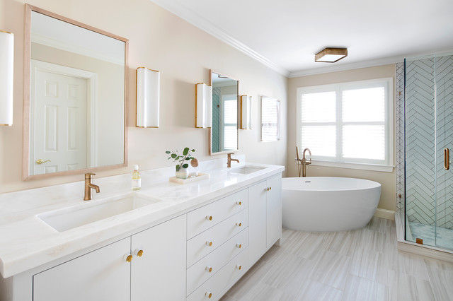 Nice  Brass Warms a White and Gray Bathroom