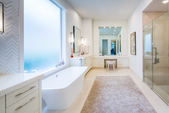 Example of a huge trendy master white tile and stone tile limestone floor bathroom design in Miami with an undermount sink, flat-panel cabinets, white cabinets, onyx countertops, a one-piece toilet and beige walls