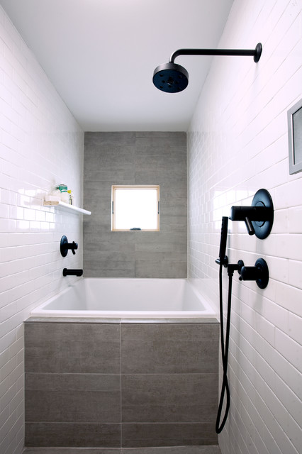 Example of a trendy gray tile bathroom design in San Francisco