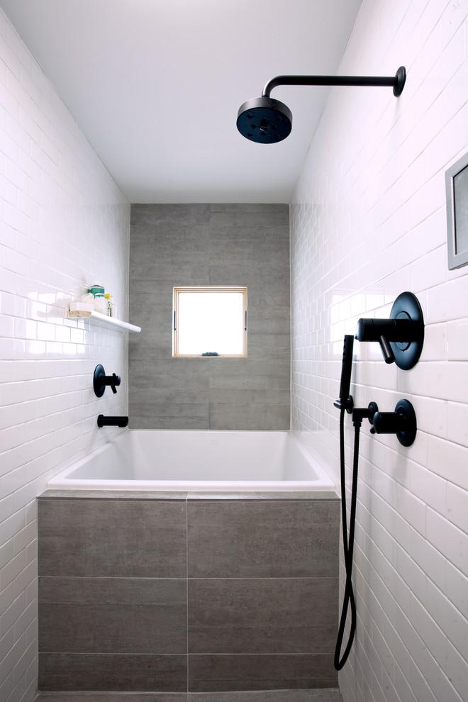 Example of a trendy gray tile bathroom design in San Francisco