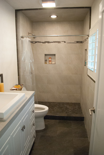 Bachelor pad bathroom tile installation modern for 0 bathroom installation