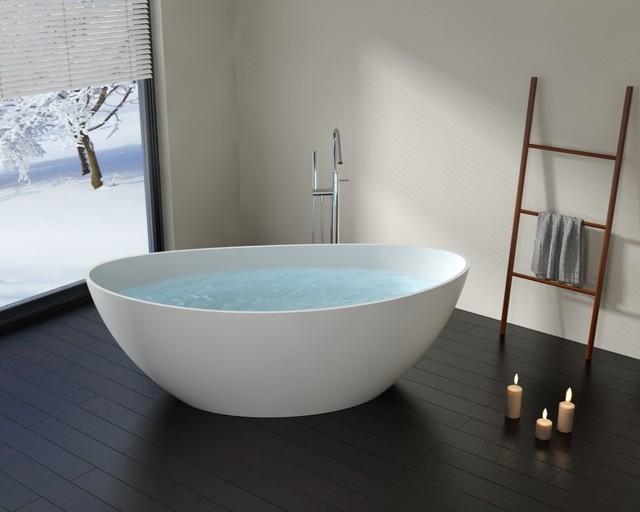 Badeloft - UPC Cert, Modern, Oval, Stone Resin, Freestanding Bathtub ...