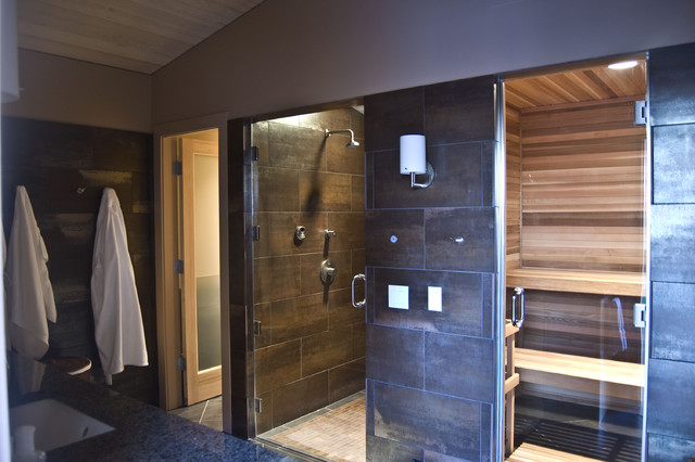 Sauna Design Ideas interiorexcellent sauna at home design along with curved benche plus recessed lighting also concrete Example Of A Mountain Style Sauna Design In Seattle