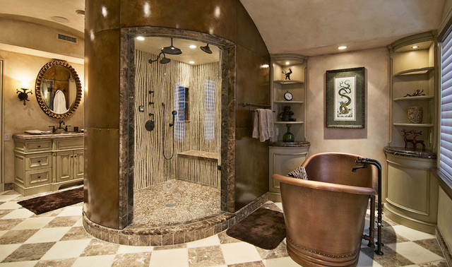 Bamboo mosaic shower wall - Francois & Co eclectic bathroom