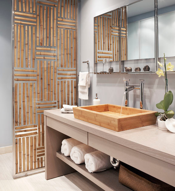 Bamboo panel asian bathroom dallas by luminexa for Spa bathroom wall decor