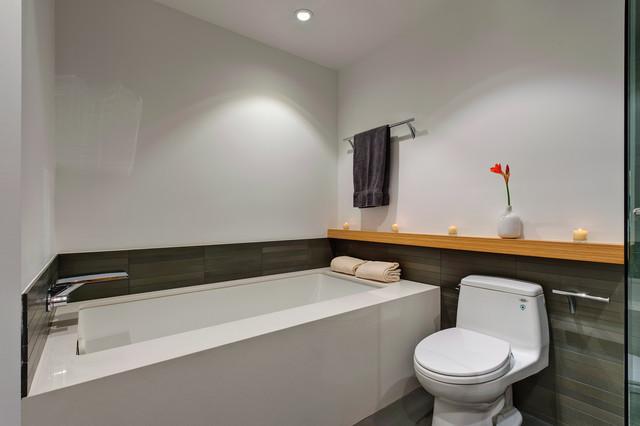 Bamboo shelf and tile wainscot modern-bathroom