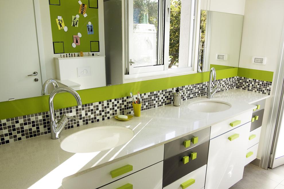 Bathroom - contemporary mosaic tile bathroom idea in Tel Aviv with an undermount sink