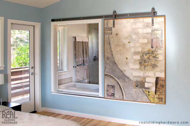Barn Door Hardware - Traditional - Bathroom - other metro - by Real Sliding Hardware