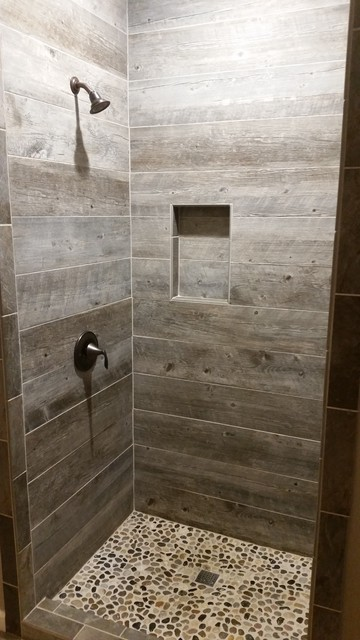 Barnwood Tile Shower Rustic Bathroom Other