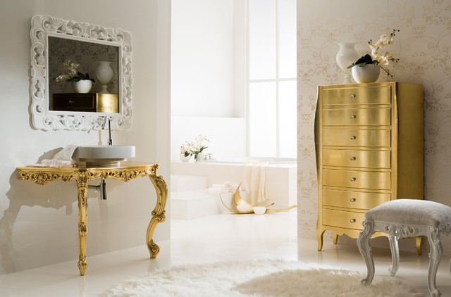 Baroque inspired modern bathroom in gold  Eclectic