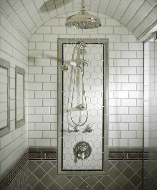 Barrel Ceiling Shower Traditional Bathroom New York