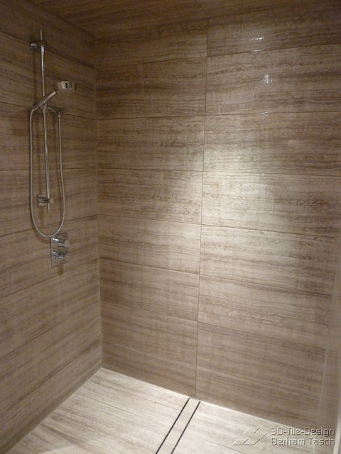Barrier free curbless rain shower coquittlam modern for Modern bathroom tile designs