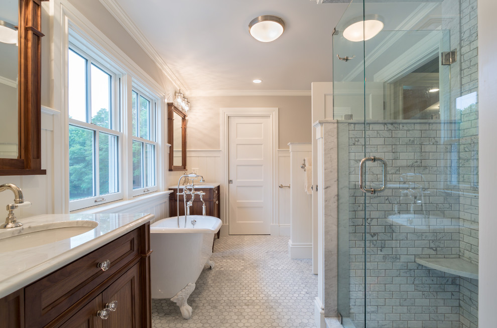 Inspiration for a farmhouse gray tile gray floor bathroom remodel in Providence with an undermount sink, recessed-panel cabinets, dark wood cabinets and a hinged shower door