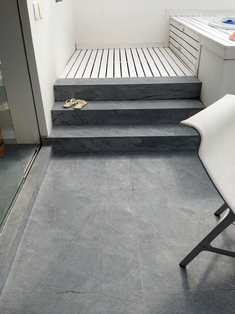 Barroca Soapstone Tile Flooring Contemporary Bathroom