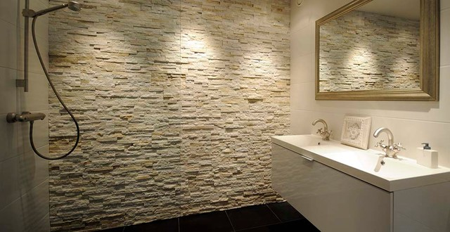 Barroco stone panels used in shower - Mediterranean - Bathroom ...