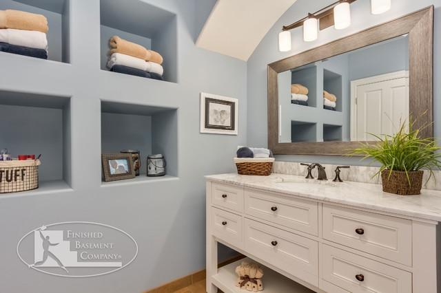 Basement Bathroom Vanity U0026 Shelves Traditional Bathroom