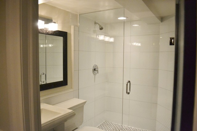 Basement Bathroom with Basketweave Floor and Large White Wall tiles