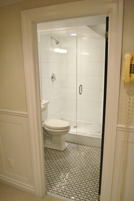Http Houzz Com Photos 11181800 Basement Bathroom With Basketweave Floor And Large White Wall Tiles Bathroom Toronto