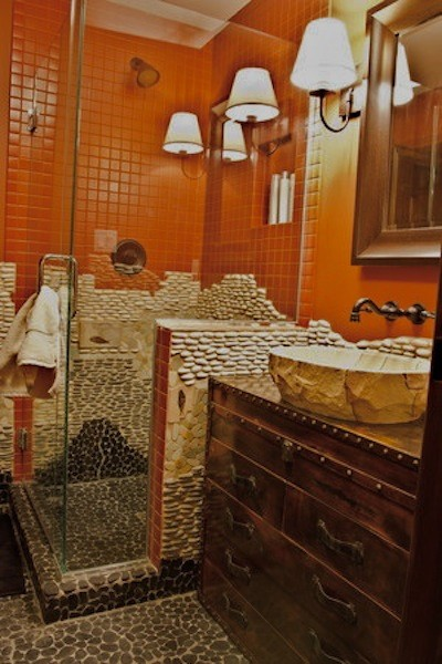 Example of an eclectic bathroom design in Other